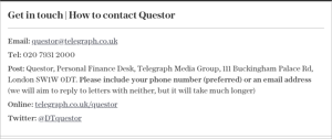 graphical user interface, text, application, email: Get in touch   How to contact Questor