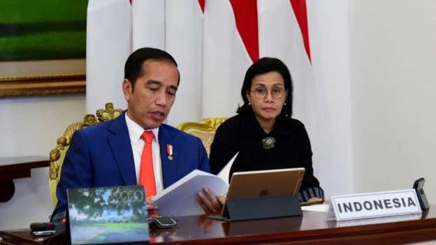 Presiden Joko Widodo didampingi Menkeu Sri Mulyani (kanan) mengikuti KTT LB G20 dari Istana Bogor, Kamis (26/3). Foto: Biro Pers Sekretariat Presiden/Muchlis Jr