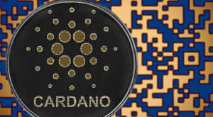 Cardano (ADA) token with blue and orange digital background.