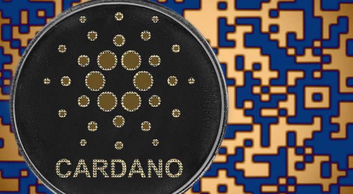 Cardano (ADA) token with blue and orange digital background.