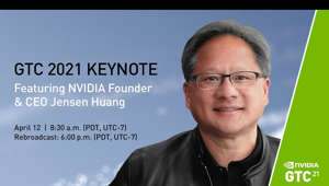 "a screen shot of Jen-Hsun Huang smiling for the camera: NVIDIA CEO Jensen Huang kicks off #GTC21​ with a """"kitchen keynote"""" that presents the latest breakthroughs in #AI​, data science, high performance computing, graphics, edge computing, networking, and autonomous machines.  Following the keynote, GTC sessions offer a deep dive into the technologies transforming our world presented by prestigious researchers, including Turing Award winners, business leaders, and industry pioneers.   With over 1600 sessions to explore – and free to attend – don't miss the chance to discover how to accelerate your business and you.  GTC Homepage: https://www.nvidia.com/en-us/gtc/ Watch the Keynote on NVIDIA: https://www.nvidia.com/en-us/gtc/keynote  Follow NVIDIA on Twitter: https://twitter.com/NVIDIAGTC https://twitter.com/NVIDIA"