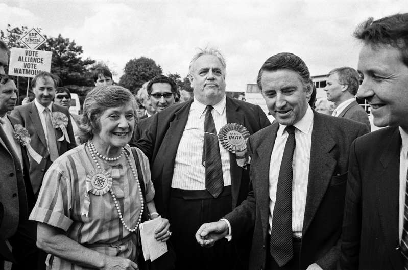 Shirley Williams MP with Cyril Smith and Liberal leader David Steel on the campaign trail in Rochdale during the 1987 general election. 31st May 1987. (Photo by Clarke/Mirrorpix via Getty Images)