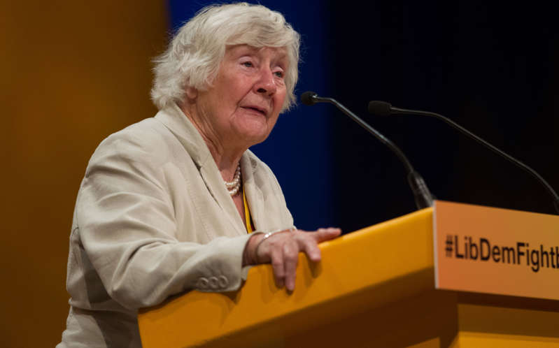 BOURNEMOUTH, ENGLAND - SEPTEMBER 21:  Liberal Democrats peer Shirley Williams speaks at a debate during a motion calling for the scrapping of Trident on the third day of the Liberal Democrats annual conference on September 21, 2015 in Bournemouth, England.(Photo by Matt Cardy/Getty Images)