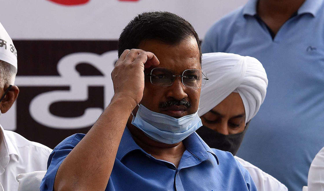 NEW DELHI, INDIA - MARCH 17: Delhi Chief Minister Arvind Kejriwal during a protest against the central government over the Government of National Capital Territory of Delhi (Amendment) Bill 2021 (GNCTD) that confers more powers to the Lieutenant Governor at Jantar Mantar on March 17, 2021 in New Delhi, India. Union minister of state for home G Kishan Reddy introduced the Bill in the Lower House on Monday. The Bill says the government in Delhi will mean the L-G in the context of all legislation passed by the city-states assembly. It makes it mandatory for the city government to seek the L-Gs opinion before any executive action. (Photo by Mohd Zakir/Hindustan Times via Getty Images)
