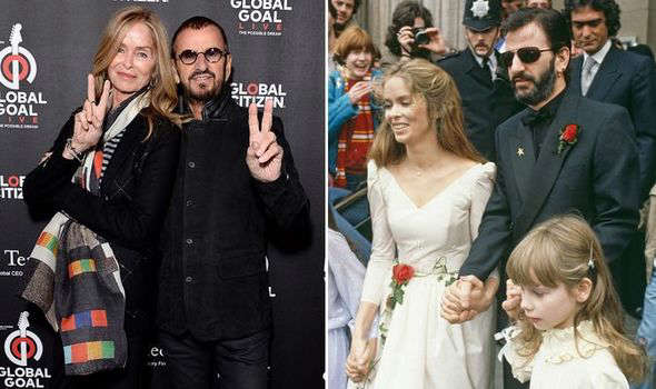 Barbara Bach, Ringo Starr posing for the camera: ringo and barbara now and on wedding day