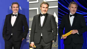 Joaquin Phoenix, Joaquin Phoenix are posing for a picture: Joaquin Phoenix is shaping up to be a sustainability style icon, as the actor rewore his Stella McCartney tuxedo and bow tie for the sixth time while appearing at the 2021 Oscars. This year, he donned the black one-button tux to present the award for Best Actor, and he paired his look with classic black Converse sneakers. Fans were quick to point out that Phoenix had worn the same oufit not only to last year's Academy Awards, but also to the 2020 Golden Globes, Critics Choice Awards, SAG Awards, and BAFTAs—and all in the name of reducing waste and embracing sustainable fashion. The fashion industry's role in society, both as an expression of art and as a huge pollutant of the planet, is being recognized with increasing significance, but with more power comes more responsibility. The same can be said for celebrities. Check out this gallery to see the stars who use their power for good, dazzling everyone on the red carpet with eco-friendly fabrics, recycled materials, and upcycled vintage pieces.