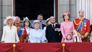 Camilla, Duchess of Cornwall, Princess Eugenie of York, Elizabeth II, Timothy Laurence, Prince Philip, Duke of Edinburgh, Prince William, Duke of Cambridge posing for the camera