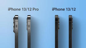 a row of cell phones: iPhone 13 and iPhone 12 rumored thickness compared. MacRumors