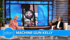 graphical user interface: Machine Gun Kelly explained how he wanted to visit girlfriend Megan Fox on a film set in Bulgaria, but since he didn't have a passport, Senator Bernie Sanders helped him get one! The singer also shared why he has a necklace with some of Megan's blood in it, and why he thinks their homes are haunted.  #MachineGunKelly #TheEllenShow #Ellen