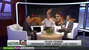 Roger Federer, Roger Federer sitting at a table looking at a screen: Federer, Nadal and Djokovic 'so involved' in ATP says Knowles