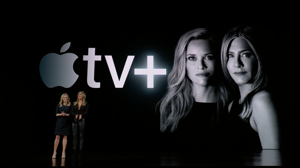 Reese Witherspoon, Jennifer Aniston are posing for a picture: Reese Witherspoon (left) and Jennifer Aniston revealed the name of their Apple TV Plus series, The Morning Show, at an Apple's event. Claudia Cruz/CNET