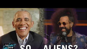Barack Obama wearing a suit and tie: Late Late Show bandleader Reggie Watts uses his question of the night to first press President Barack Obama on his knowledge about UFOs, footage of which is being unclassified and makes a compelling case.  More Late Late Show: Subscribe: http://bit.ly/CordenYouTube Watch Full Episodes: http://bit.ly/1ENyPw4 Facebook: http://on.fb.me/19PIHLC Twitter: http://bit.ly/1Iv0q6k Instagram: http://bit.ly/latelategram  Watch The Late Late Show with James Corden weeknights at 12:35 AM ET/11:35 PM CT. Only on CBS.  Get new episodes of shows you love across devices the next day, stream live TV, and watch full seasons of CBS fan favorites anytime, anywhere with CBS All Access. Try it free! http://bit.ly/1OQA29B  --- Each week night, THE LATE LATE SHOW with JAMES CORDEN throws the ultimate late night after party with a mix of celebrity guests, edgy musical acts, games and sketches. Corden differentiates his show by offering viewers a peek behind-the-scenes into the green room, bringing all of his guests out at once and lending his musical and acting talents to various sketches. Additionally, bandleader Reggie Watts and the house band provide original, improvised music throughout the show. Since Corden took the reigns as host in March 2015, he has quickly become known for generating buzzworthy viral videos, such as Carpool Karaoke.""