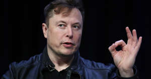 Elon Musk looking at the camera: Elon Musk, founder and chief engineer of SpaceX speaks at the 2020 Satellite Conference and Exhibition March 9, 2020 in Washington, DC. Musk answered a range of questions relating to SpaceX projects during his appearance at the conference.