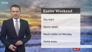 Matt Taylor wearing a suit and tie: BBC Weather: UK temperatures set to drop over bank holiday