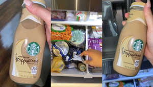 a close up of a bottle: TikTok user shares Starbucks' bottled Frappuccino hack
