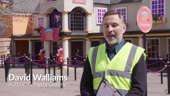 David Walliams standing in front of a building: David Walliams unveils new 'Gangsta Granny' ride at Alton Towers