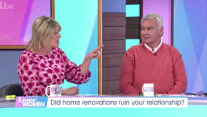 Eamonn Holmes et al. standing in front of a screen: Loose Women: Ruth sets record straight over purple Gogglebox sofa