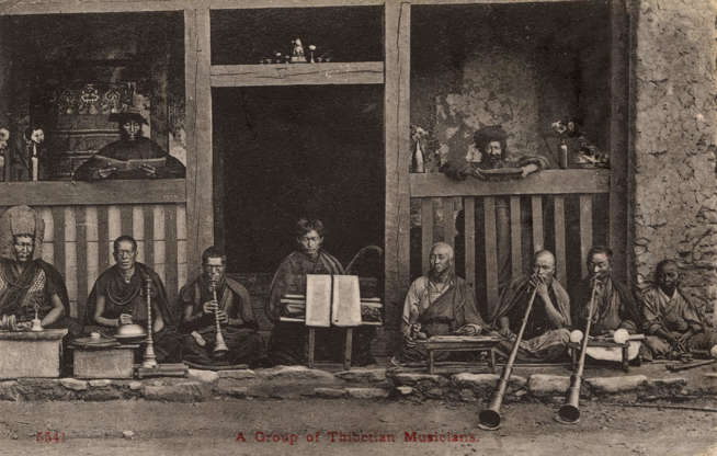 """Slide 28 of 31: This early 20th-century postcard shows a group of traditional Tibetan musicians. """"Tibetan folk music originated directly from ordinary Tibetan people's mind,"""" musicologist Ngawang Choephel, who produced a documentary on Tibetan traditional music in 2009, tells Voice of America. """"It's a very pure form of oral tradition, of our Tibetan people's history, knowledge and beliefs."""" Since the 1940s, the Chinese government has actively sought to manipulate and repress Tibetan traditional music; Choephel himself was arrested while on a recording trip for the documentary."""