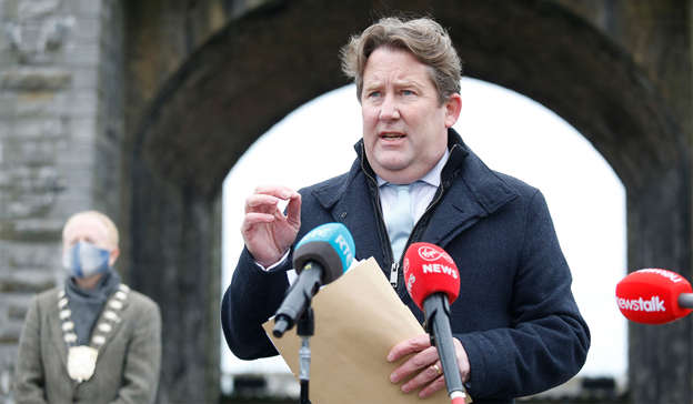 a man wearing a helmet: Mr O'Brien bore the brunt of criticism this week over the Government's housing policies as the issue escalated into a full-blown political crisis for the Government. Photograph: Leon Farrell / RollingNews.ie