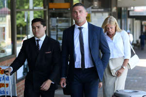 Sam Burgess leaves Moss Vale Local Court, Moss Vale, NSW, Friday, February 5, 2021. Former NRL star Sam Burgess is facing one charge of intimidation and one charge of common assault after a clash with his former father-in-law.