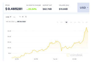 graphical user interface, application: Dogecoin price: Coindesk price chart for DOGE