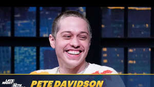a screen shot of Pete Davidson smiling for the camera: Pete Davidson goes over his experience on the latest season of SNL, explains what it was like recording the Audible Original podcast Hit Job and shares he is starring in a movie about Joey Ramone.  Late Night with Seth Meyers.  Stream now on Peacock: https://bit.ly/3erP2gX  Subscribe to Late Night: http://bit.ly/LateNightSeth   Watch Late Night with Seth Meyers Weeknights 12:35/11:35c on NBC.   Get more Late Night with Seth Meyers: http://www.nbc.com/late-night-with-seth-meyers/   LATE NIGHT ON SOCIAL Follow Late Night on Twitter: https://twitter.com/LateNightSeth Like Late Night on Facebook: https://www.facebook.com/LateNightSeth Follow Late Night Instagram: http://instagram.com/LateNightSeth Late Night on Tumblr: http://latenightseth.tumblr.com/   Late Night with Seth Meyers on YouTube features A-list celebrity guests, memorable comedy, and topical monologue jokes.   GET MORE NBC Like NBC: http://Facebook.com/NBC Follow NBC: http://Twitter.com/NBC NBC Tumblr: http://NBCtv.tumblr.com/ YouTube: http://www.youtube.com/nbc NBC Instagram: http://instagram.com/nbc   Pete Davidson Reveals Why He Had Some of His Tattoos Removed - Late Night with Seth Meyers https://youtu.be/OI2o99rbxPc  Late Night with Seth Meyers http://www.youtube.com/user/latenightseth