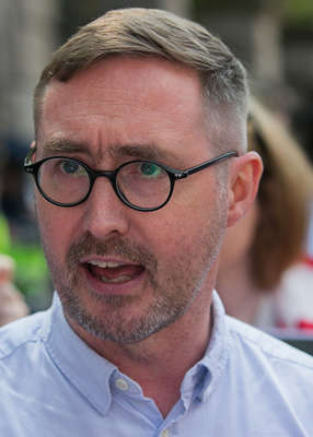Eoin Ó Broin wearing glasses and looking at the camera: Pat described the story as 'deception, pure and simple', to which Mr O Broin said: 'I don't accept that, Pat. Pic: Gareth Chaney/Collins