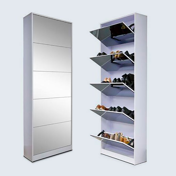 Slide 8 of 10: Standing at six feet tall, this product is a dream for shoe lovers. It includes five-drawer racks that open and close. Plus, thanks to its mirror exterior, this tall shoe cabinet will look elegant on display anywhere in your home. Nobody will ever know all of your shoes are inside it! Shop Now