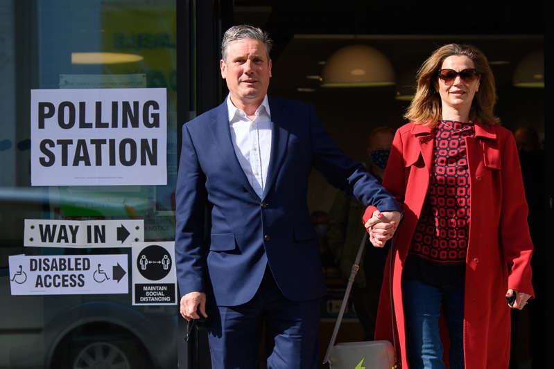 Labour Party leader Keir Starmer and his wife Victoria leave the polling station after casting their votes on May 06, 2021 in London, England. (Photo by Leon Neal/Getty Images)
