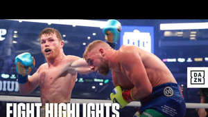 a screen shot of Saul Alvarez: May 8, 2021 -- Canelo vs. Saunders from AT&T Stadium in Arlington, Texas  Subscribe to our YouTube channel 👉  http://bit.ly/DAZNBoxingYouTube  Download the DAZN app now 👉  http://bit.ly/DAZNYoutube  Follow DAZN Boxing On Social Media 👇 Twitter: https://www.twitter.com/DAZNBoxing Instagram: https://www.instagram.com/DAZNBoxing Facebook: https://www.facebook.com/DAZN