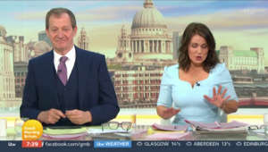 Alastair Campbell, Susanna Reid sitting at a table: GMB: Alastair Campbell apologises to guest for name error