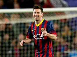 Barcelona's Lionel Messi celebrates his goal against Celta de Vigo during their La Liga soccer match at Nou Camp stadium in Barcelona in this March 26, 2014 file photo. Barcelona and Messi have agreed an improved contract for the four-times World Player of the Year, the La Liga club said on May 16, 2014.
