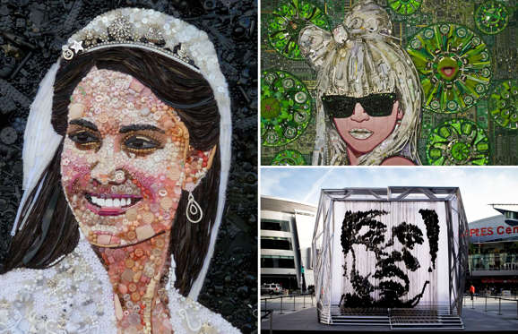 Portraits Of Famous People Made From Unusual Materials - 24 amazing celebrity portraits made using unusual materials