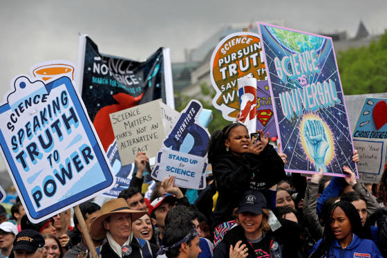 Slide 1 of 24: Demonstrators march to the U.S. Capitol during the March for Science in Washington, U.S., April 22, 2017.