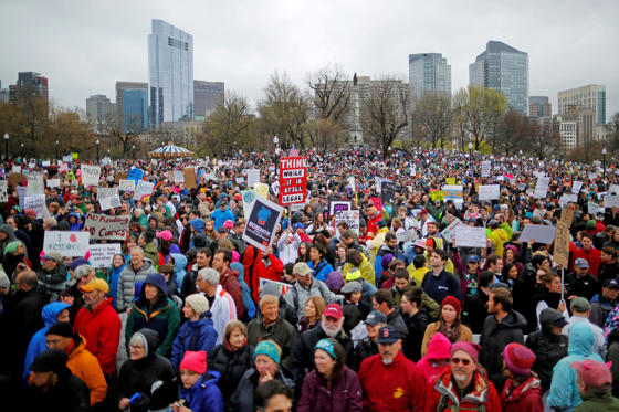 Slide 3 of 24: Demonstrators gather for the March for Science rally on the Common in Boston, Massachusetts, U.S., April 22, 2017.