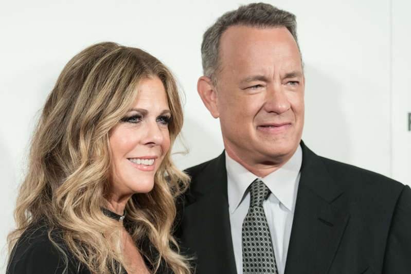 """Rita Wilson and Tom Hanks attend """"The Circle"""" premiere at the 2017 Tribeca Film Festival on April 26 in New York."""