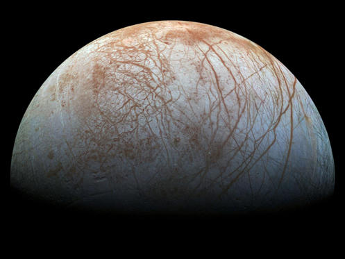 Slide 1 of 25: Jupiter's ice-covered moon, Europa