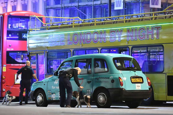 """Slide 1 of 28: Police sniffer dogs on London Bridge after an incident in central London, on June 3.  British police said they were dealing with """"incidents"""" on London Bridge and nearby Borough Market in the heart of the British capital Saturday, as witnesses reported a vehicle veering off the road and hitting several pedestrians."""