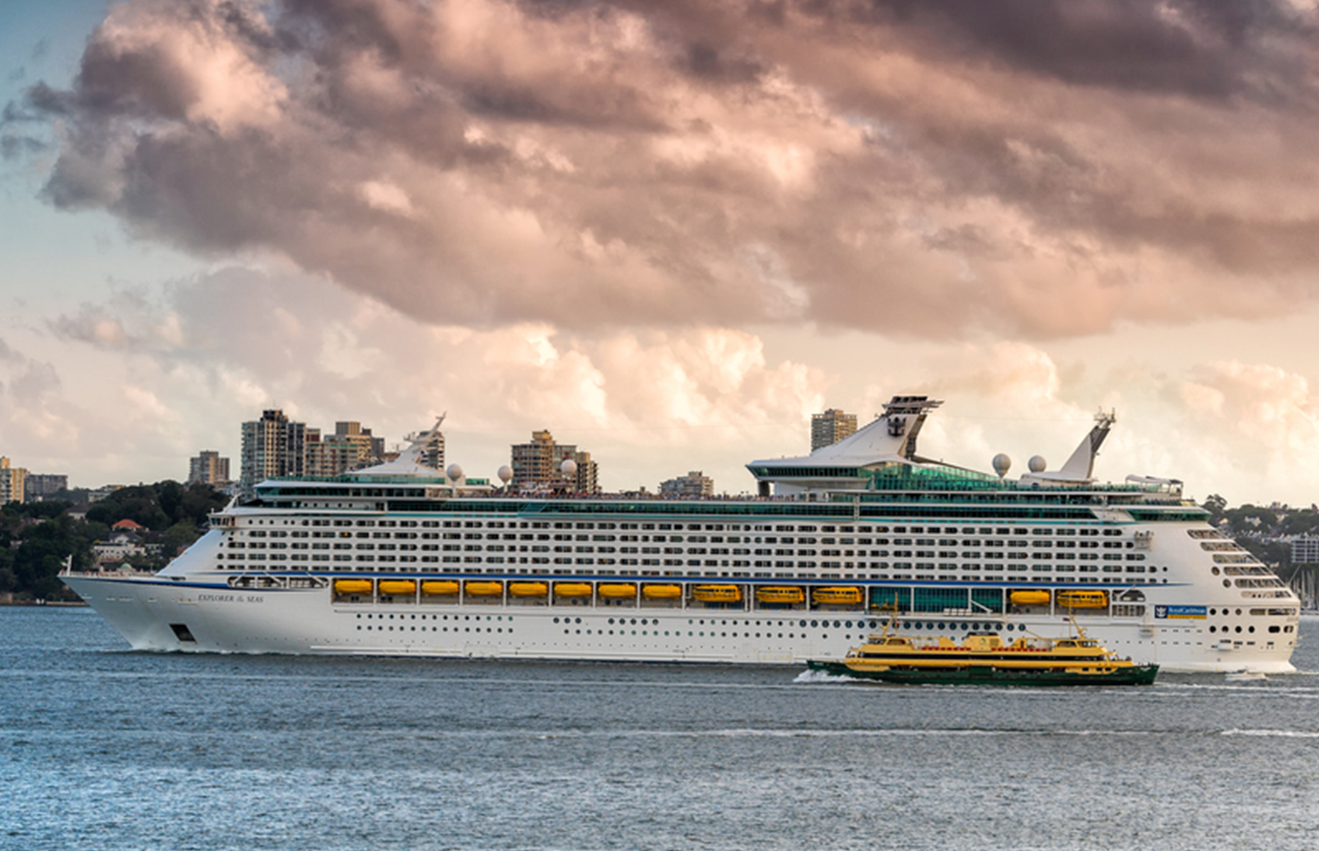 Slide 1 of 31: Sydney,NSW, Australia on 24th Dec 2015:Explorer of the Seas is a Voyager-class cruise ship owned and operated by Royal Caribbean International built in 1999. She can accommodate over 3,000 passenegrs