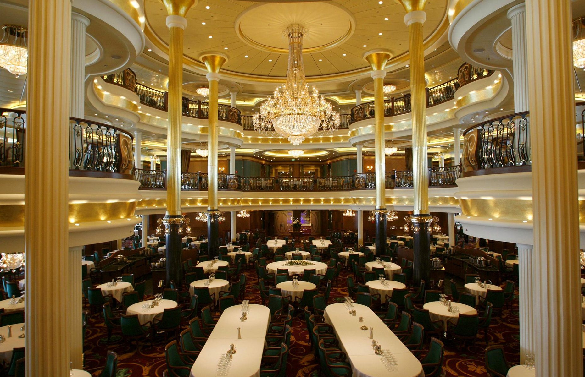 Slide 21 of 31: A general view of the dining room aboard the Liberty of the Seas, the world's newest and largest cruise ship alongside in Southampton today for its only European visit.