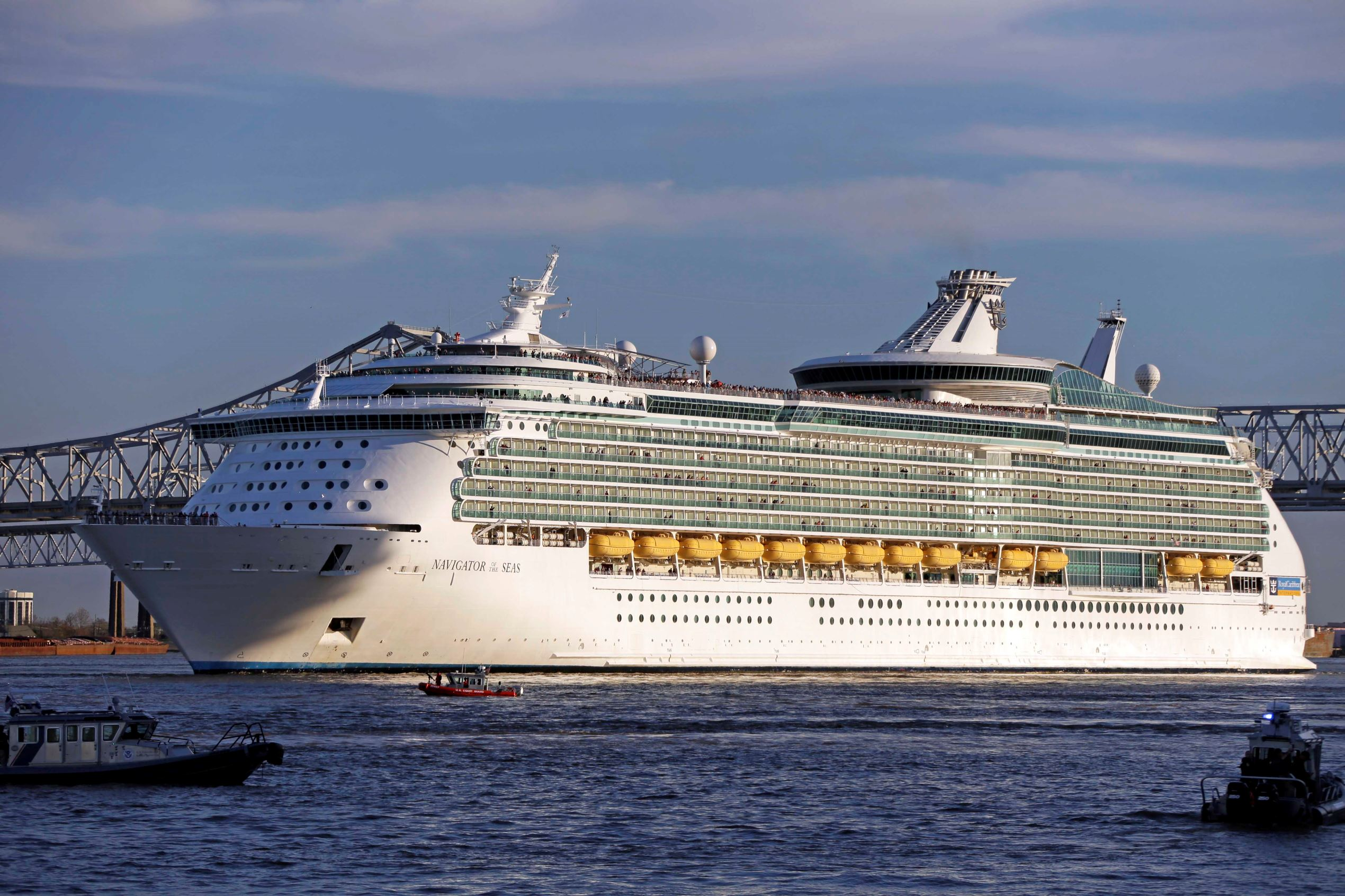 Slide 7 of 31: This photo taken Feb. 2, 2013 shows the Royal Caribbean cruise lines Navigator of the Seas pulls out of New Orleans on the Mississippi River. (AP Photo/Gene J. Puskar)