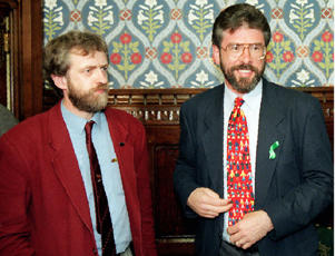 File dated 4.5.95 of Jeremy Corbyn (left) with Gerry Adams.