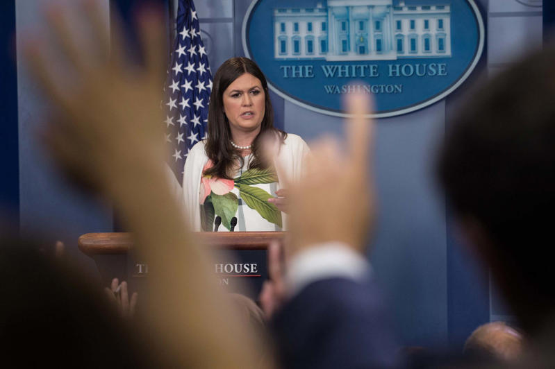Principal Deputy White House Press Secretary Sarah Huckabee Sanders speaks during the press briefing at the White House in Washington, DC, on June 5, 2017.