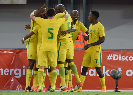 South African national football team celebrates a goal during the 2019 African C...