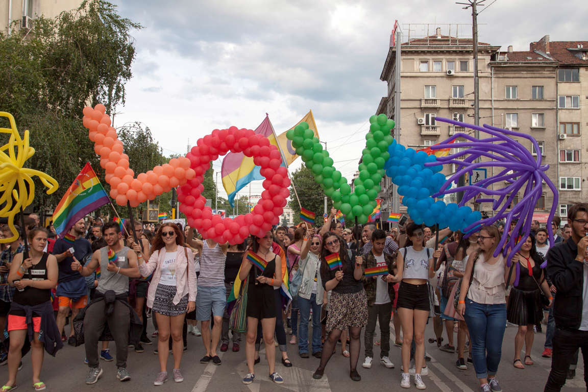 Slide 35 of 57: Sofia, Bulgaria - June 10, 2017: People celebrating at the 10th Sofia Gay Pride, Sofia Pride is the biggest annual event dedicated to the equality and human rights of all citizens and the biggest event increasing the visibility of LGBTI people in the country.