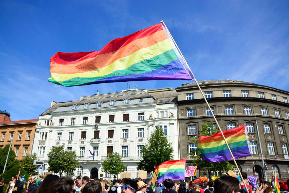 """Slide 32 of 57: People march as they take part at the annual Gay Pride Parade in central Zagreb, Croatia, on June 10, 2017. The 16th Zagreb Pride parade was under the motto """"A Free Life Begins With Pride!"""". (Photo by Alen Gurovic/NurPhoto via Getty Images)"""
