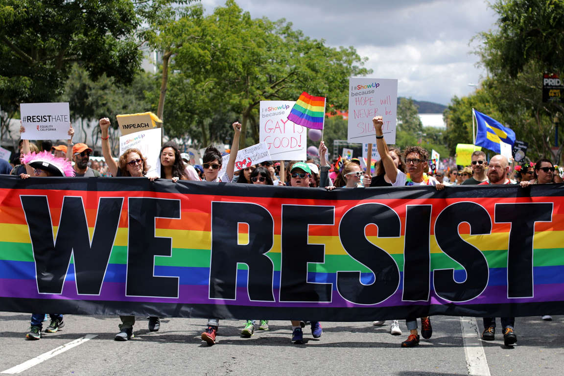 Slide 34 of 57: The annual Pride Parade is replaced with a Resist March as members of the LGBT community protest President Donald Trump in West Hollywood, California, U.S. June 11, 2017. REUTERS/Mike Blake TPX IMAGES OF THE