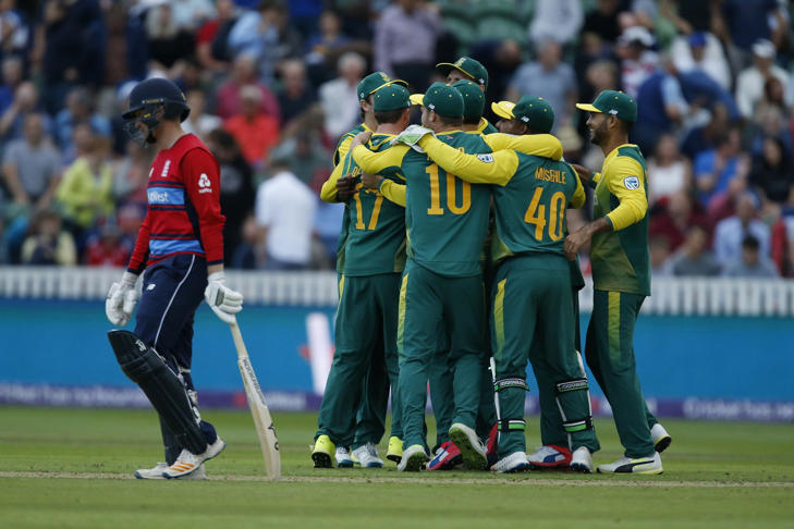 South Africa's Andile Phehlukwayo runs out England's Liam Livingston during the the second NatWest T20 Blast match.
