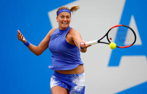 Czech Republic's Petra Kvitova in action during her quarter final match against France's Kristina Mladenovic during the Aegon Classic on Friday in Birmingham, England. Kvitova won 6-4, 7-6.