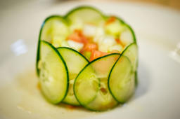 Delicately prepared cucumber and salsa dish in Brentwood, Maryland, USA.